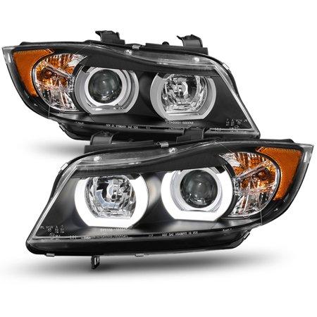 For [3D LED U-Halo Tube] 06-08 BMW E90 3-Series Sedan Wagon Projector Headlight 2007 Bmw 5 Series Sedan