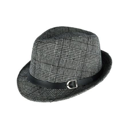 Men's Plaid Trilby Fedora with Black Band,  Black](Fedora Black)