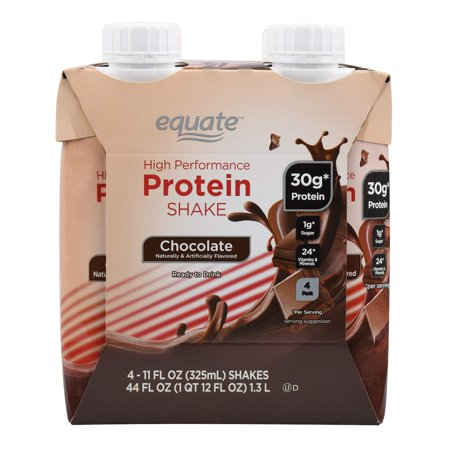 Equate High Performance Protein Shake, Chocolate, 44 Oz, 4 Ct