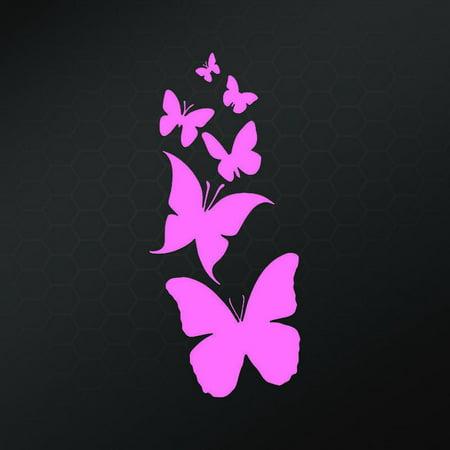 Family of Butterflies Vinyl Decal Sticker | Cars Trucks Vans Walls Laptop | Pink | 7 X 3 Inch | Keen25P