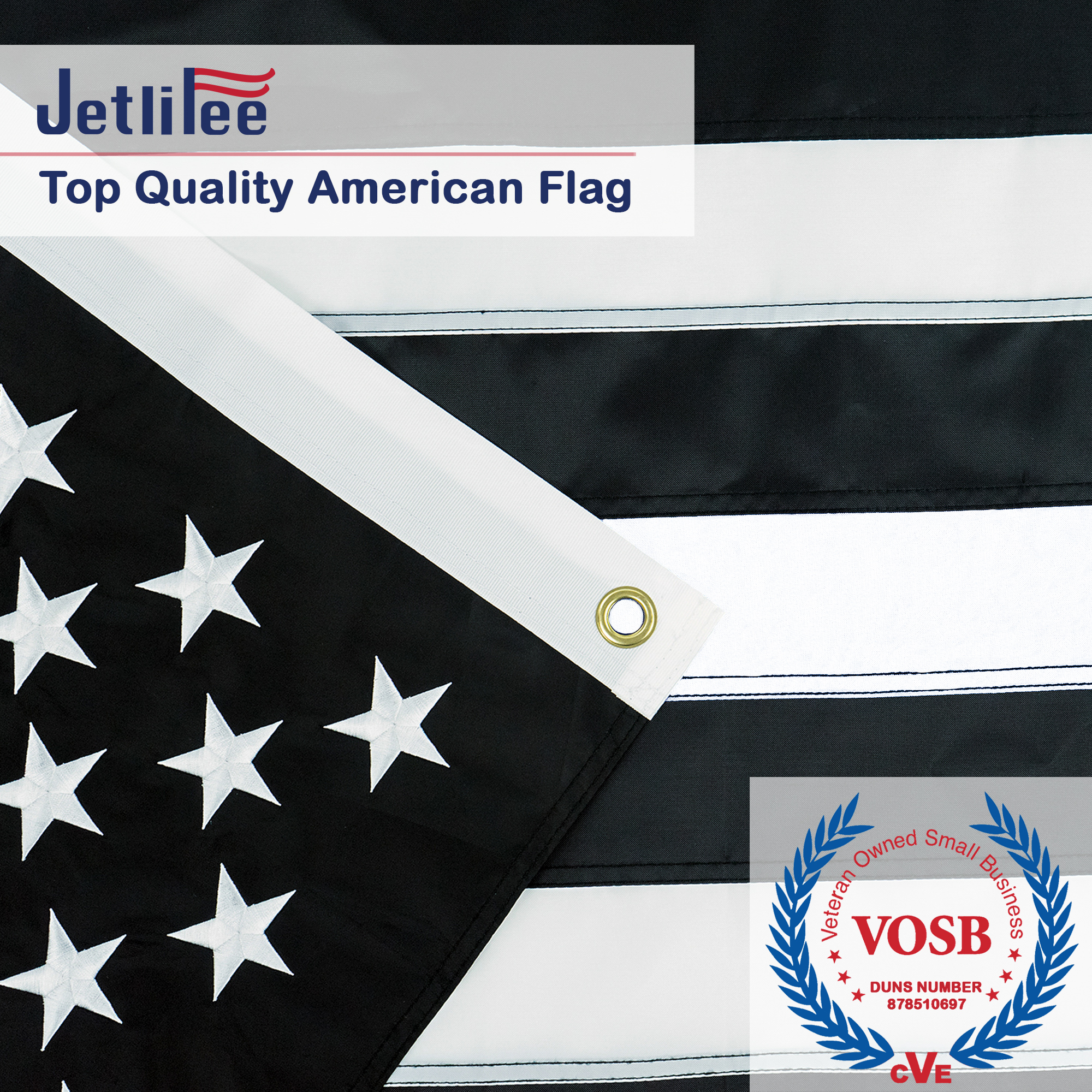 Jetlifee Black and White American Flag 3x5 Ft by US Veterans Owned Biz. Embroidered Stars, Sewn Stripes and Long Lasting Nylon, Brass Grommets 3 X 5 Foot Black and White Flags