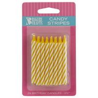 White Stripe Birthday Candles (24)