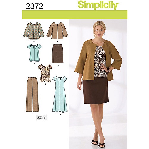 Simplicity Pattern Misses' Sportswear, Jacket Dress or Top Skirt and Pants, (20W-28W)