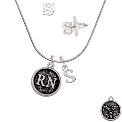 Nurse Caduceus Seal - RN - S Initial Charm Necklace and Stud Earrings Jewelry Set