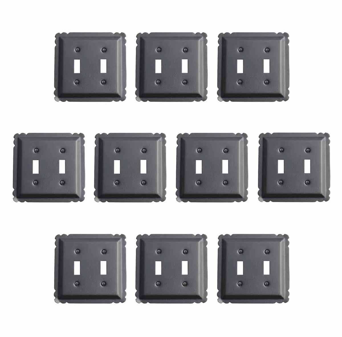 10 Switchplate Black Steel Double Toggle | Renovator's Supply