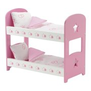 """emily rose 14 inch doll furniture   lovely pink and white star themed doll bunk bed, includes plush reversible bedding   fits 14"""" american girl wellie wishers dolls"""