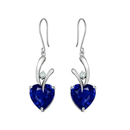 Star K 8Mm Heart Shape Created Sapphire Hanging Hook Love Earrings In Sterling Silver