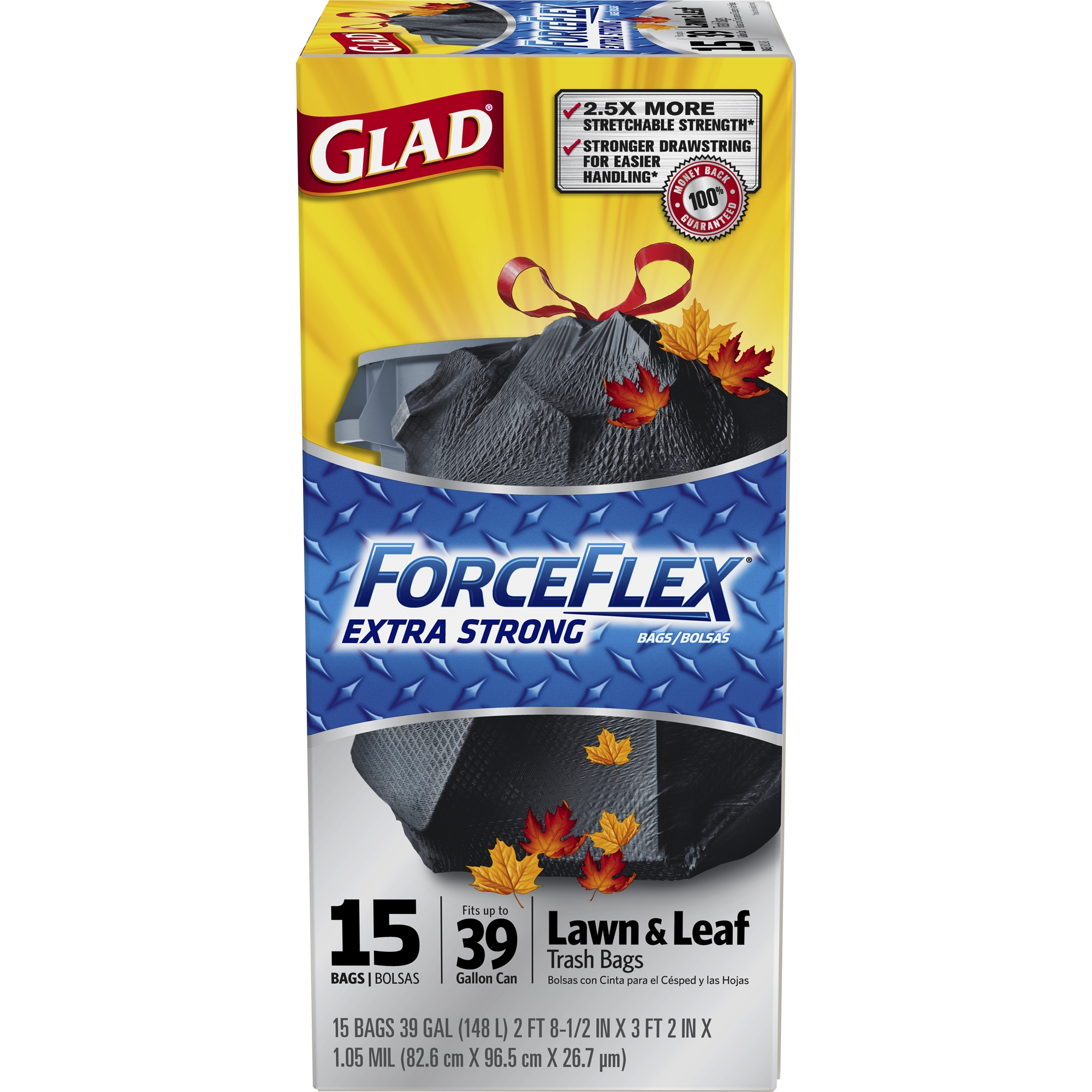 Glad ForceFlex Extra Strong Lawn and Leaf Drawstring Trash Bags, 39 Gallon, 15 Count