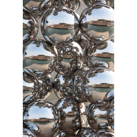 - City reflection in chrome spheres Bilbao Biscay Province Basque Country Region Spain Poster Print by Panoramic Images (36 x 24)