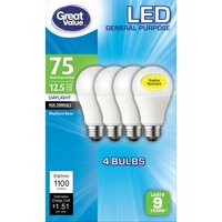 Great Value LED Light Bulb, 12.5W (75W Equivalent) A19 General Purpose Lamp E26 Medium Base, Non-dimmable, Daylight, 4-Pack