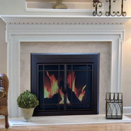 Pleasant hearth enfield prairie cabinet fireplace screen for Prairie style fireplace