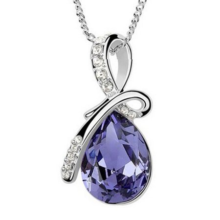 Drop Swarovski Elements (Wrapables® Eternal Love Swarovski Elements Crystal Teardrop Pendant Necklace, Dark Purple)