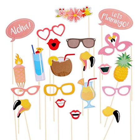 Tinksky 21pcs Hawaii Themed Summer Party Photo Booth Props Kit DIY Luau Party Supplies for Holiday Wedding Beach Party for $<!---->
