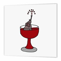 3dRose Funny Elephant in Red Wine Glass , Iron On Heat Transfer, 8 by 8-inch, For White Material
