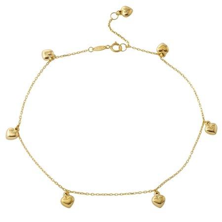 14k Yellow Gold Puffy Heart Rolo Chain Charm Bracelet, 7