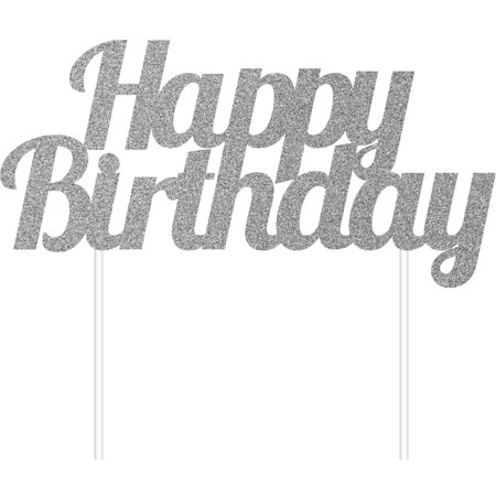 Silver Glitter Happy Birthday Cake Topper, 1 pk