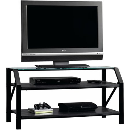 Sauder Beginnings Black Panel TV Stand for TVs up to 47″