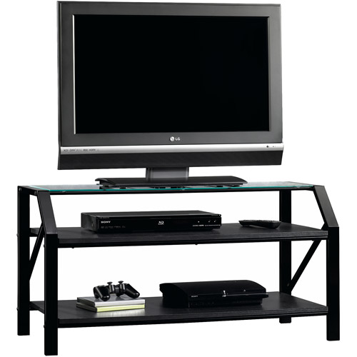 Sauder Beginnings Black Panel TV Stand for TVs up to 47""