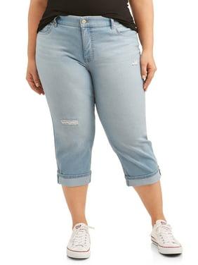 514667c63d1 Product Image Terra & Sky Women's Plus Size Wide Cuffed Comfort Waist Capri  Jean