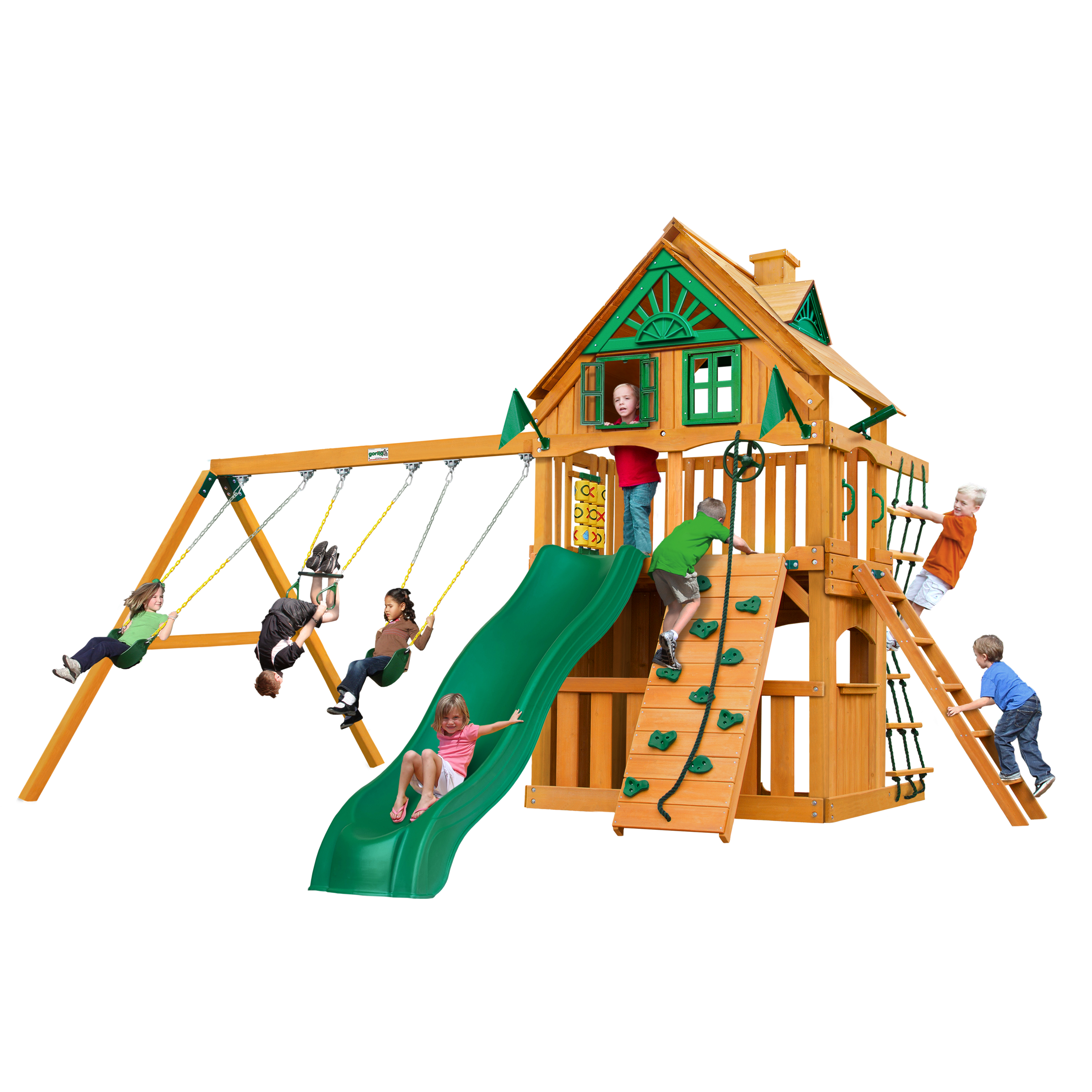 Gorilla Playsets Chateau Clubhouse Treehouse Wooden Swing Set With