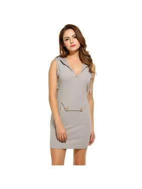 7fc47cd45de4 Product Image Women V-Neck Sleeveless Casual Solid Pockets Hooded Hoodie  Mini Dress HFON