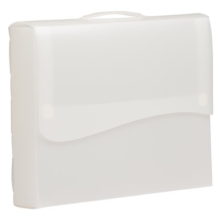 "JAM Paper® Plastic Portfolio with 2-Button Waved Snap Closure, 12"" x 9 1/2"" x 2"", Clear, Sold Individually"