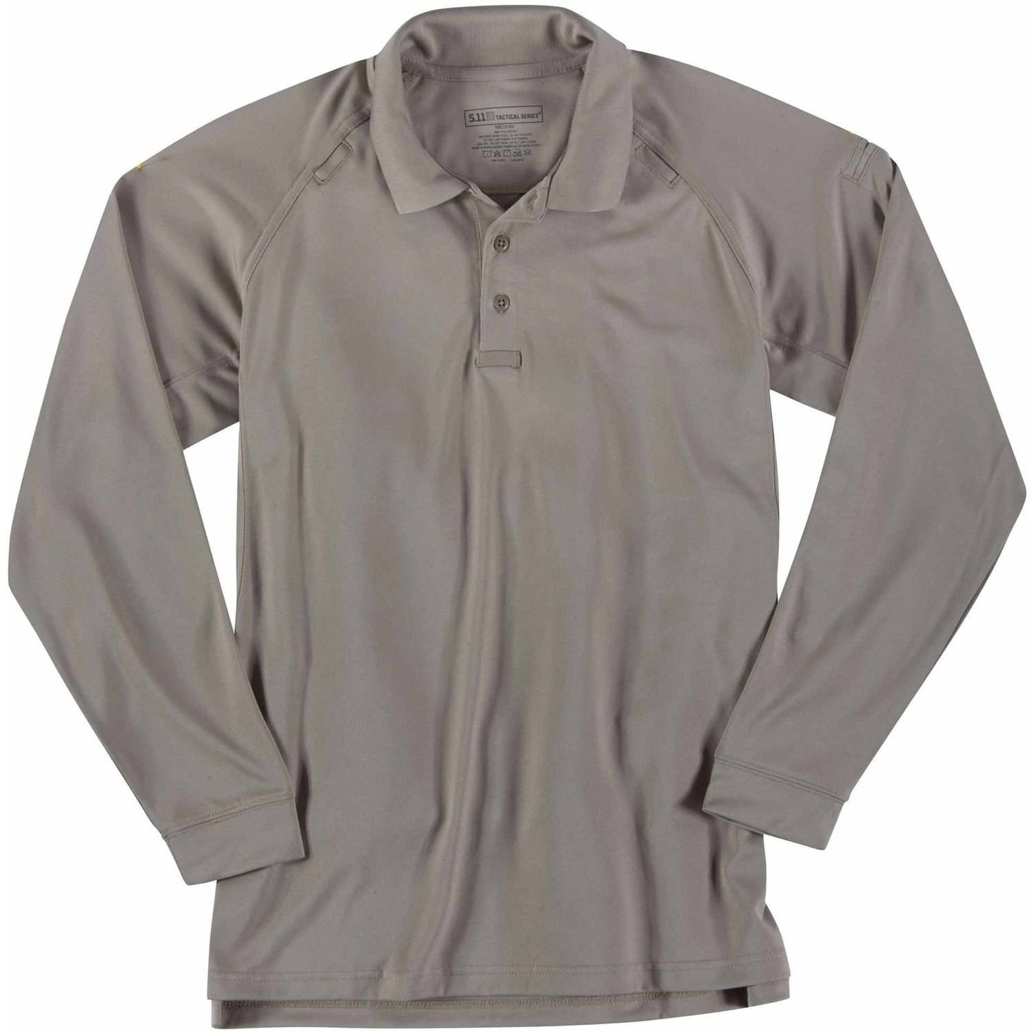 Performance Long Sleeve Polo Shirt, Silver Tan