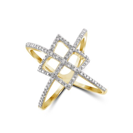 1/7 Carat T.W. White Diamond 14kt Gold Over Silver Crisscross Ring