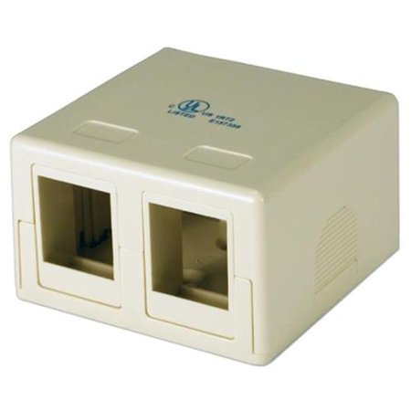 Keystone Jack Surface Mount Box - QVS C5BX-2P Dual Port Beige Surface Mount Box for CAT5-CAT6 Keystone Jacks