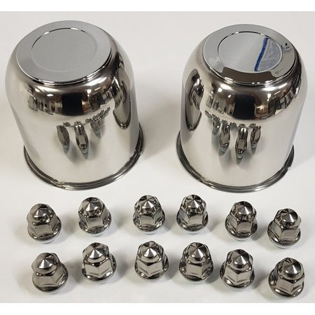 Trailer Wheel Center Caps - 2 Trailer Wheel Lug and Cap Sets - Stainless Hub Cover 6 SS Lugs 3.75in. Center