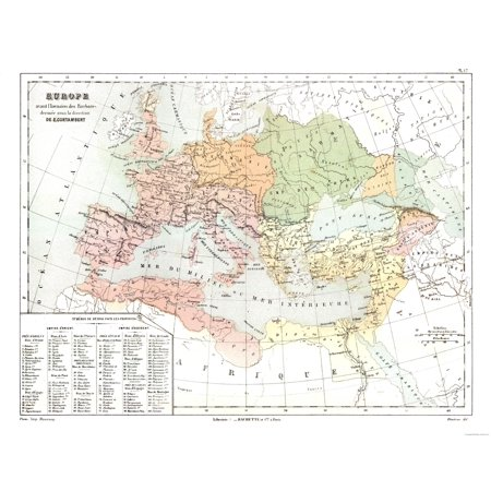 International Map Europe Barbarian Invasions Contambert 1880