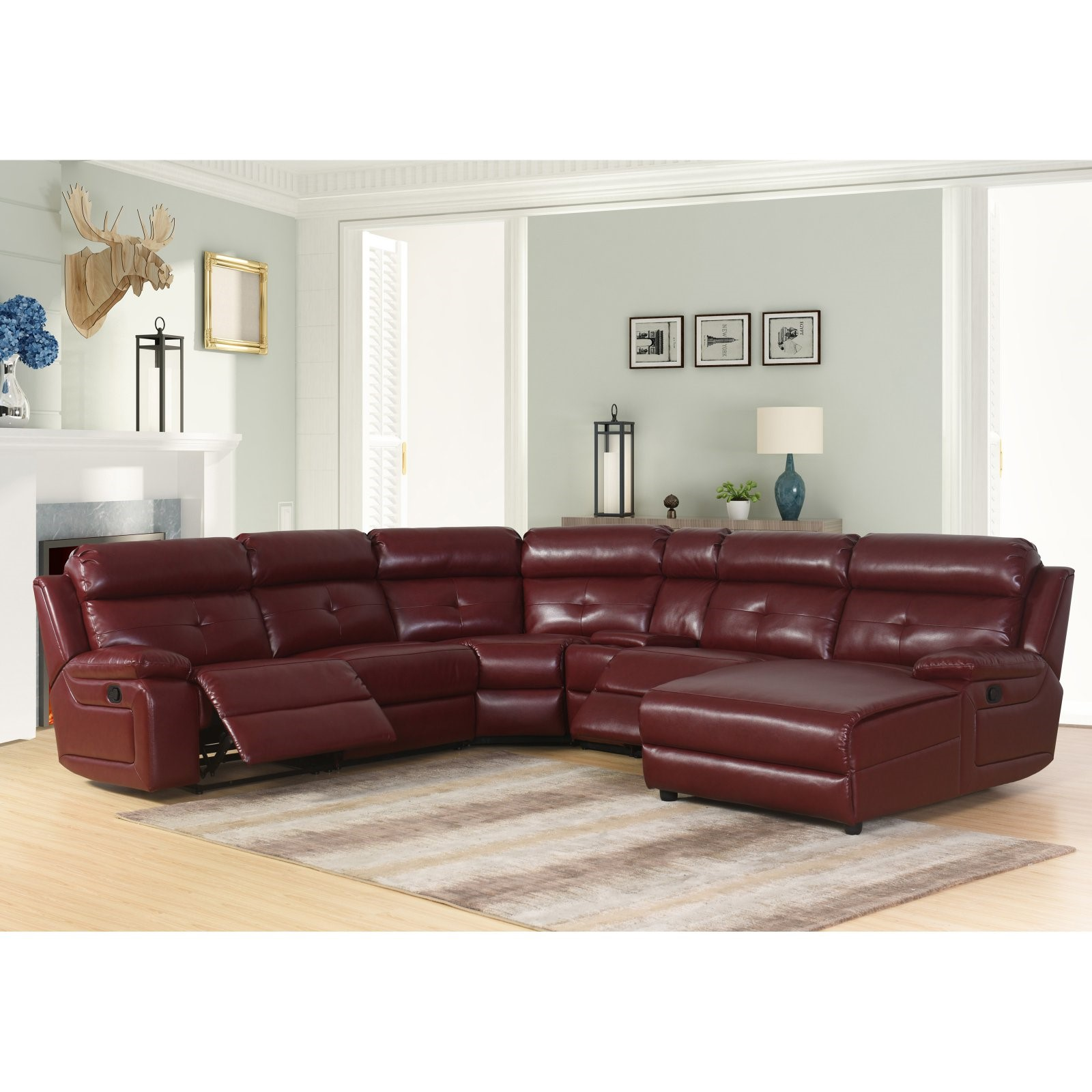 Abbyson Nate 6 Piece Bonded Leather Reclining Sectional Sofa