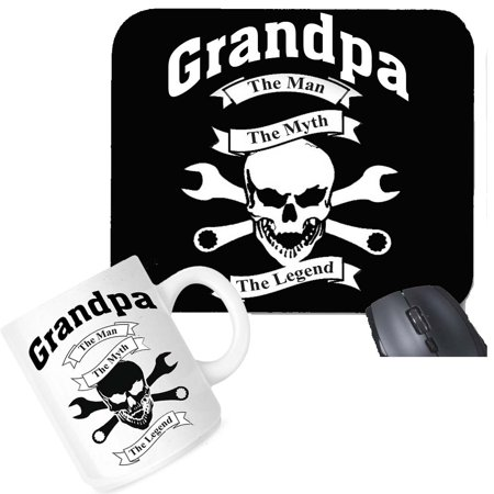 The Office Gift Set (Grandpa The Man The Myth The Legend Mouse Pad Coffee Mug Office Set Gift Package)