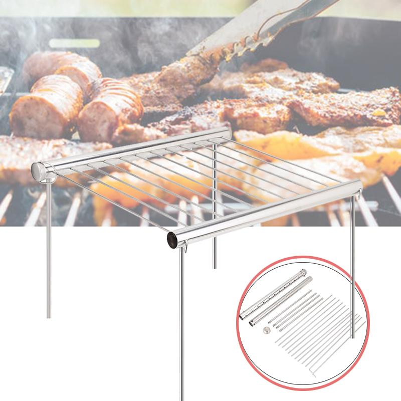 Outdoor Foldable Portable Stainless Steel Barbecue Grill Charcoal Rack for BBQ Picnic, Charcoal Grill, Foldable Grill