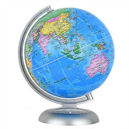 Illuminated Floor Globe Antique (Costway 8'' Illuminated World Globe Up-to-date W/ Stand Built-in LED Night View Kids )