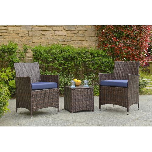 Wrought Studio Minden 3 Piece Conversation Set with Cushions