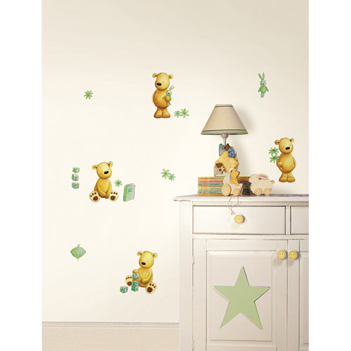 Fun4Walls Teddy Bear Wall Stickers, Green