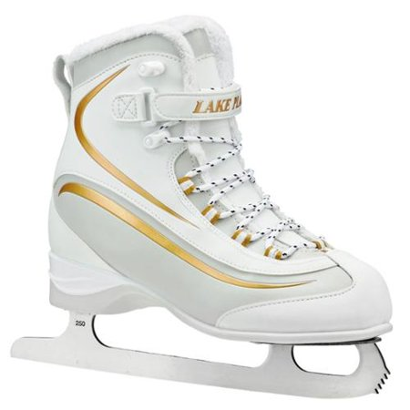 Lake Placid Women's Everest Soft Boot Figure Ice Skates (White Gold 5) by