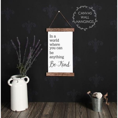 Wood Canvas Sign Wall Hanging, In a World Be Kind Bathroom Wall Art Print 9x15-Inch ()