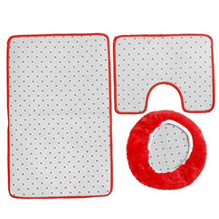 3Pcs /set Non-slip Toilet Lid Cover + Floor Pedestal Rug + Pad Mat Carpet Bathroom Home Decor Gift - image 2 de 6