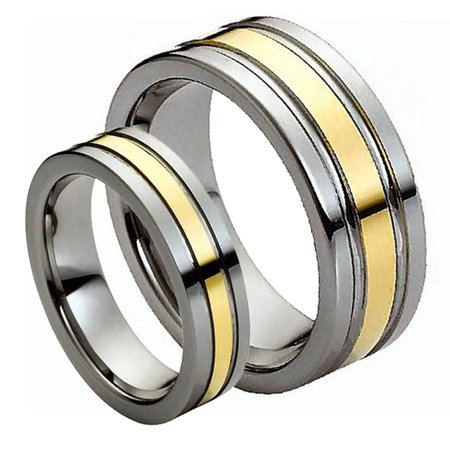 For Him & Her 8MM/6MM Tungsten Carbide Flat Shiny Two Tone Gold Grooved Cut Tungsten Carbide Wedding Band Ring Set Flat Grooved Wedding Ring