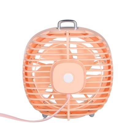 Mini USB Table Fan with Rotating Cover Mask 3 Speeds 180? Wind Direction and Adjustable Night Light Desktop Fan for Office Home - image 5 de 7