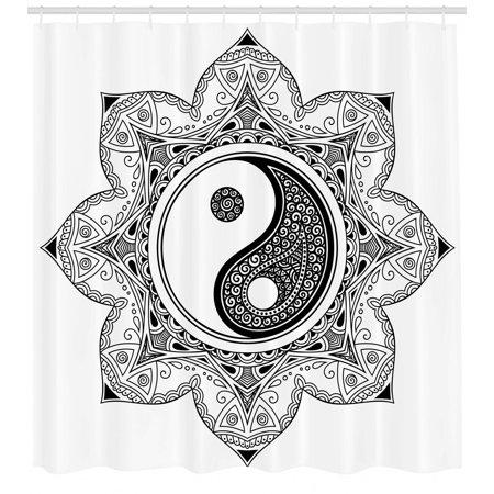 Ying Yang Shower Curtain, Asian Yin Yang Characters for