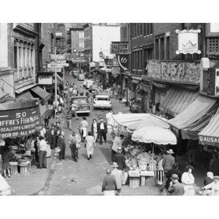 High angle view of a group of people in a street market Salem Street Boston Massachusetts USA Poster - Salem Boston Halloween