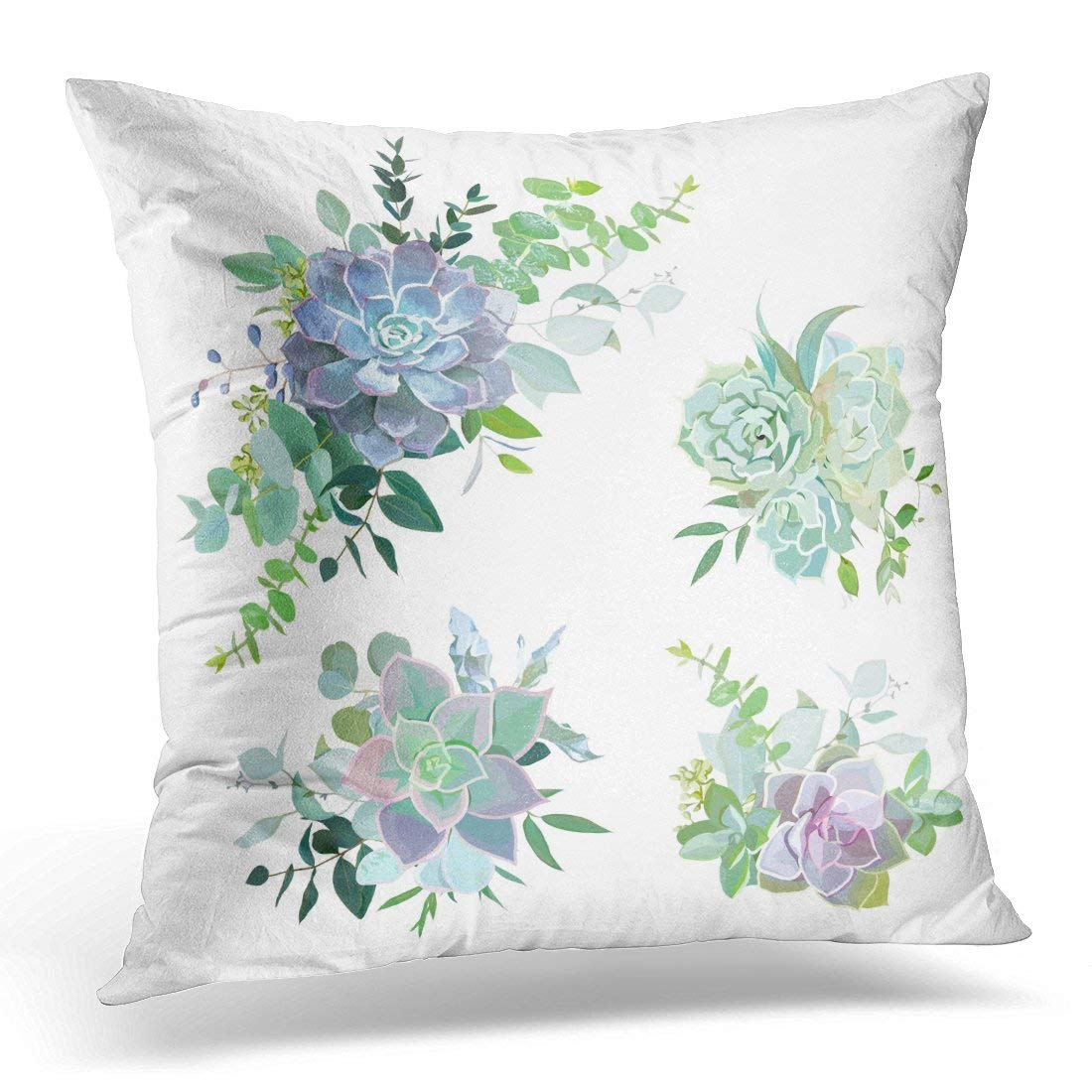 Arhome Green Colorful Succulent Bouquets Objects Eucalyptus Selection Echeveria Herbs Various Plants And Leaves Pillow Case Pillow Cover 18x18 Inch Walmart Com Walmart Com