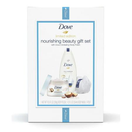 Dove 3-pc Nourishing Macadamia Holiday Gift Set (Bodywash, Body Polish with Bonus Pouf)