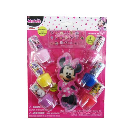 Disney Girls Multi Color Minnie Mouse Nail Polish 6 Piece Manicure Set (Minnie Mouse Nails For Halloween)