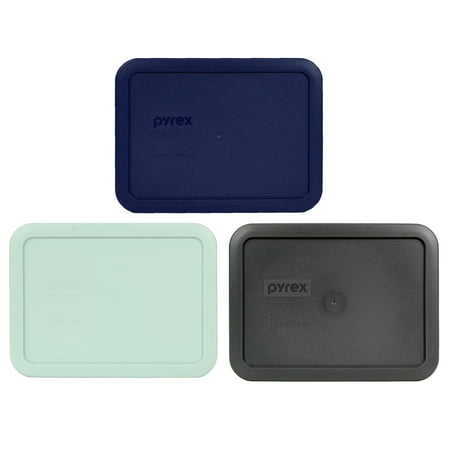 Pyrex Replacement Lid 7210-PC Dark Blue, Muddy Aqua, and Charcoal Gray Rectangle Cover (3-Pack) for Pyrex 7210 3-Cup Dish (Sold Separately)