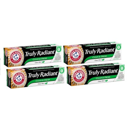 - (4 Pack) Arm & Hammer Truly Radiant Clean Mint Fluoride Anticavity Toothpaste, 4.3 oz