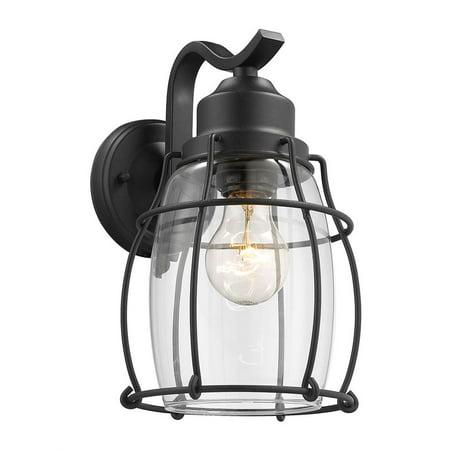 "CHLOE Lighting CHARLOTTE Industrial 1 Light Textured Black Outdoor Wall Sconce 11"" Tall"
